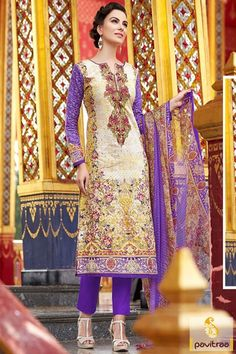 Fashionable violate color cotton daily wear salwar suit. Purchse this latest casual wear churidar salwar kameez for all young generation young modern woman. #salwarsuit, #casualdress more: http://www.pavitraa.in/store/casual-salwar-suits/