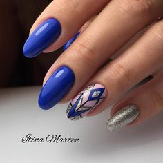 Royal Blue Oval Nails With Silver Accents ❤️27 Stunning Examples of Cobalt Blue Nails For Elegant Ladies ❤️ See more: https://naildesignsjournal.com/cobalt-blue-nails/ #naildesignsjournal #nails #nailart #naildesigns #ChoosingNailTips