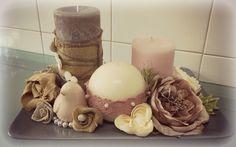 composizione candele rosa/grigio uccellino rosa in ceramica