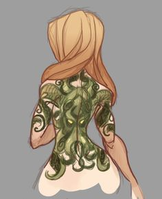"I decided to bring the ""Hermeaus Mora"" theme into the Zombie AU by giving Valkari a Cthulhu tattoo as well as make her a Lovecraft nerd. The tattoo is still a WiP so I'll post a more all around view of it once the design is finalized"