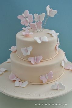 Butterfly Christening Cake - this.. but want light purple and white!