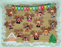 Reindeer crafts with the students faces - great christmas bulletin board idea for the classroom Preschool Christmas, Christmas Activities, Christmas Crafts For Kids, Christmas Themes, Holiday Crafts, December Bulletin Boards, Christmas Bulletin Boards, Reindeer Bulletin Boards, Winter Bulletin Boards