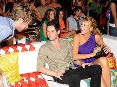 Blake Lively and Penn Badgley shared an on-camera kiss in July 2008.  : Onscreen couple Leighton Meester and Ed Westwick posed for a photo at the 2008 Teen Choice Awards in LA.  : Connor Paolo, Michelle Trachtenberg, Jessica Szohr, and a burger-eating Ed Westwick joked around at a Lucky party held in NYC in May 2008.  : Leighton Meester and Ed Westwick shared a well-dressed scene in August 2010.  : Penn Badgley and Blake Lively cuddled close at the 2008 Teen Choice Awards in LA.
