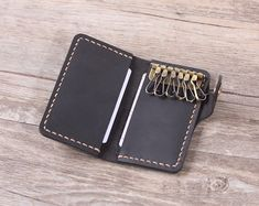 Personalized Leather Key Wallet Handmade Pocket by aimeehandmade