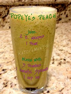 Juicing Vegetables and Fruit   POPEYE'S PEACH  Juice:   2 cups Grapes  1 Pear  Blend with:   3 Peaches  1 Handful Spinach  1 cup Ice     *Make sure you take the pits out of your peaches before you put them in the blender!         http://www.katmovements.com/