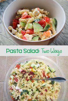 Colourful Pasta Salad // Pasta Salad: Two Ways. Gluten-Free Pasta Salad & Simple Pasta Salad with Goat Cheese // Pasta Salad: Two Ways. Gluten-Free Pasta Salad & Simple Pasta Salad with Goat Cheese Easy Onion Soup Recipe, Onion Soup Recipes, Easy Pasta Salad, Pasta Salad Recipes, Dairy Free Recipes, Healthy Recipes, Healthy Salads, Pasta Carbonara, Goat Cheese Salad