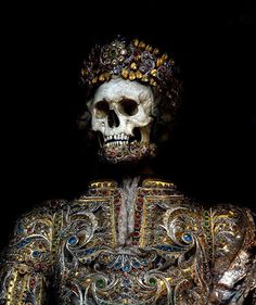 Removed from the catacombs of Rome in the 17th century, the relics of 12 martyred saints were attired in the jeweled regalia of the previous period and reinterred in a remote church on the German/Czech border.