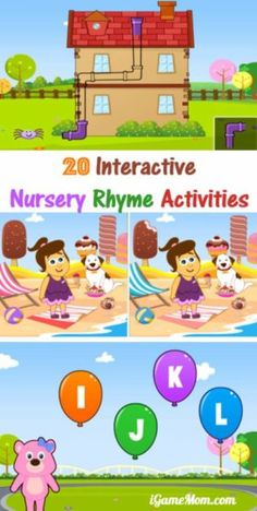 Fun interactive nursery rhyme activities for kids, with 20 nursery songs and 20 activities built upon the songs. Great for preschool kindergarten kids to engage in literacy with music and hands on activities, wonderful activities for memory and fine motor development