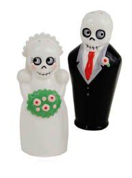 "DEAD BRIDE & GROOM NEWLYDEAD Salt & Pepper Set Ceramic NEW IN BOX by 180. $18.99. THE NEWLYDEAD BRIDE AND GROOM Salt and Pepper shakers are great fun, these are 4"" tall. Nothing like a Dead Bride and Groom to get a party started. These unique Salt and Pepper sets are made of high-fired ceramic and are gift boxed. These make great conversation pieces and gifts. Lots of fun!"