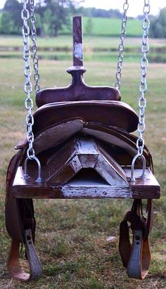 saddle horse swing- would be cute with horse head, mane, and tail! just remove saddle when not in use. Wish I'd kept my saddle! Saddle Swing, Horse Swing, Kids Saddle, Saddle Rack, Saddle Chair, Chair Swing, Boot Rack, Swing Design, Design Design