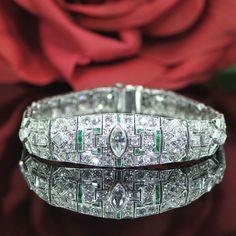 Art Deco Diamond and Emerald Bracelet  #DiamondJewelry