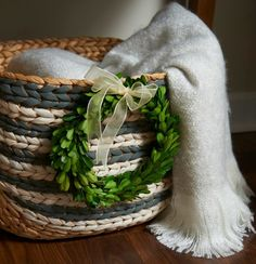 DIY Painted Basket with Wreath Accent
