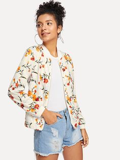 SHEIN offers Floral Print Jacket & more to fit your fashionable needs. Blusas Crop Top, Ankara Jackets, Coats For Women, Clothes For Women, Sheepskin Jacket, Print Jacket, Jackets Online, Sweater Jacket, Fashion News