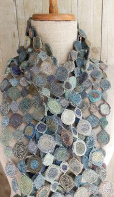 """""""Popopop"""" linen scarf - blues by Sophie Digard"""