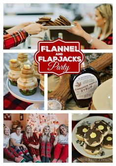 flannel and flapjacks holiday party is full of rustic holiday fun! From the pancake decorated sugar cookies, gingerbread pancakes with sugared cranberries and flannel pj gift exchange, it has all the makings of a great holiday or Christmas girls party. Christmas Pajama Party, Christmas Party Food, Christmas Brunch, Noel Christmas, Xmas Party, Family Christmas, Christmas Ideas, Christmas Decor, Canadian Christmas