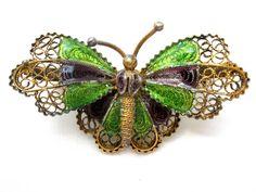 Art Nouveau Plique A Jour Enamel Butterfly Brooch 800 Silver Pin Sash Ornament  #Butterfly
