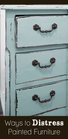 There are a few ways you can distress your painted furniture. Here are some of the different techniques you can use to distress click on the arrow below to read more:   Look around!