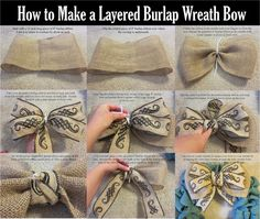 Step by step instructions with pictures on how to make a PERFECT burlap bow! Burlap wreath with bow.Best burlap bow tutorial so far!Seriously, the easiest bow tutorial ever! Burlap Projects, Burlap Crafts, Burlap Ribbon, Diy Ribbon, Wreath Crafts, Wired Ribbon, Diy Wreath, Ribbon Bows, Ribbons