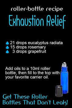 Exhaustion Relief Stainless steal roller balls work the best and glide smoothly. They also dont disintegrate from the oils. These roller bottles are re-usable and come with a tool to open the roller balls with ease! Essential Oil Storage, Doterra Essential Oils, Young Living Essential Oils, Essential Oil Diffuser, Essential Oil Blends, Roller Bottle Recipes, Aromatherapy Oils, Aromatherapy Recipes, Bottle Openers