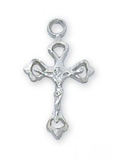 "Catholic Boy's or Girl's First Communion Necklace - Gorgeous Rhodium Plated Crucifix Necklace. This Elegant Cross Comes With a 16"" Rhodium Plated Chain and Packaged In a White Leatherette Box to Compliment the Special Occasion. 1/2"" Size. MV001 http://www.amazon.com/dp/B00JG7MS4E/ref=cm_sw_r_pi_dp_nW7nvb0PKBCNV"