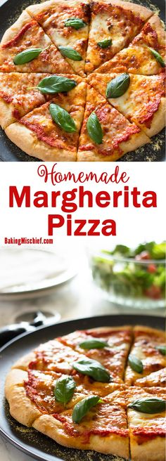 Simple but impressive homemade margherita pizza with dough and sauce from scratch! Recipe includes nutritional information and freezer and make-ahead instructions. Pizza Recipes, Seafood Recipes, Vegetarian Recipes, Cheesy Recipes, Veggie Recipes, Dinner Recipes, Healthy Recipes, Pasta, Food Hacks