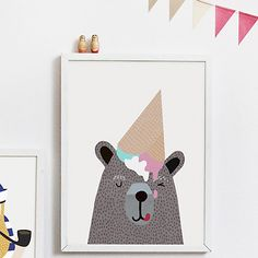 Buy Michelle Carlslund Illustration Bear Ice Cream Poster, 30 x 40cm Online at johnlewis.com