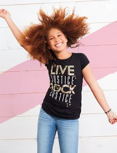 Lights, camera, graphics! Throw on this special Live Justice tee and your fave stackable bracelets, and you're ready to rock n' roll!