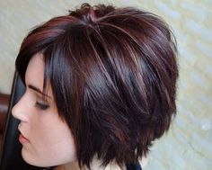short hair cuts for women and I like the reds in this one