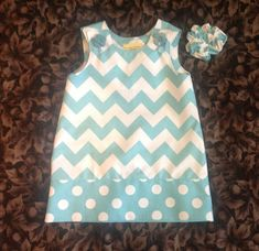 Chevron Dress, Aqua & White (baby, infant, girl, child, toddler) jumper or sundress  -  with matching hair accessory.