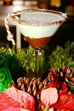 The Grinch Martini      (1 oz. Van Gogh Double Chocolate    1/4 oz. Frangelico    1/4 oz. Buttershots liqueur    1/4 oz. Godiva White Chocolate Liqueur    1/4 oz. creme de menthe    Splash of cream)