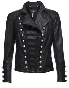Women's Military Style Biker Leather Jacket (180 )