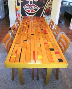 Recycled Gym Floor Dining Room Table in furniture diy with Table Recycled Furniture dining room table Furniture Making, Home Furniture, Pallet Furniture, Furniture Ideas, Furniture Design, Outdoor Furniture, Upcycled Furniture Before And After, Basketball Floor, Recycled Furniture