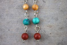 Burnt Red Turquise & Golden Yellow with Silver by ReeseJewelry, $12.50