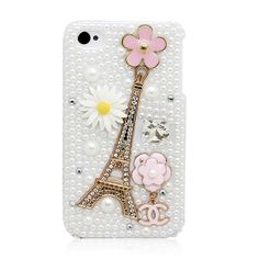 Shining Rhinestone Golden Eiffel Tower Pearl Ornamental Case for iPhone 4/4S/5 & Samsung GALAXY S III i9300