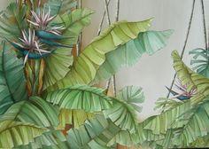 White heliconia Botanical Drawings, Botanical Illustration, Botanical Prints, Nature Wallpaper, Wallpaper Backgrounds, Hand Painted Wallpaper, Ceramic Wall Art, Tropical Art, Motif Floral