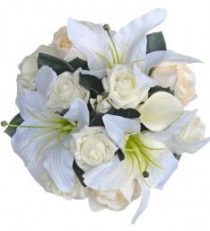 Brides Wedding Bouquet in Ivory with Calla Lilies, Roses &  Casablanca Lily