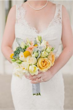 Gorgeous Yellow, Peach, and Green Bouquet | A San Francisco Wedding at Fort Mason General's Residence by onelove photography via StyleUnveiled.com