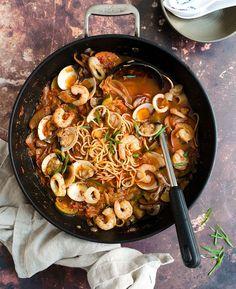 Seafood Brothy Noodles (Jjampong)