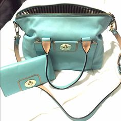 HOLD FOR @brookenoelle23 till Jan 11 Aqua Kate Spade bag and wallet. Excellent condition! Used for one month then put away. No marks, stains or rips. Price is firm due to near new condition  kate spade Bags Shoulder Bags