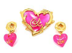 Christian Lacroix Heart Brooch & Earrings