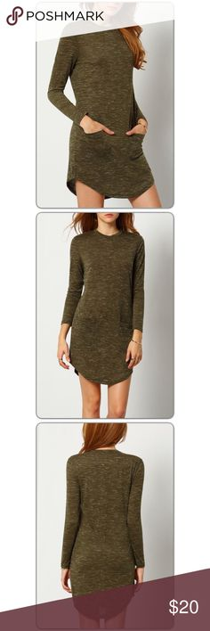 """Trendy Olive T-shirt Dress w/Pockets!! Small! Slip into a comfy fit that brings casual style with this green dress. Crated in a timeless silhoutte of loose bodice, round neck and long sleeves then accentuated with side pockets. Slim Fit! 65% Polyester 35% Rayon. Measurements are Bust: 36.2"""", Waist 26"""", Sleeve Length 22.8"""". Boutique Dresses"""