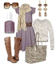 The Trendy Outfit Idea, light purple dress, white knit top, and tan knee-length boots