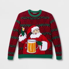 Hybrid Mens Cheers Ugly Christmas Sweater with Bottle Holder Applique