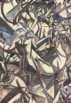 "Lewis, Wyndham (1882-1957) - 1912 The Creditors    Percy Wyndham Lewis was an English painter and author.   In the years 1913-15 that he developed the style of geometric abstraction, a style which his friend Ezra Pound dubbed ""Vorticism"". Lewis found the strong structure of Cubist painting appealing, but said it did not seem ""alive"" compared to Futurist art, which, conversely, lacked structure. Vorticism combined the two movements in a strikingly dramatic critique of modernity."