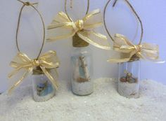 Beach Ornament Set of 3   Seashell Beach in a Bottle by ShoreItUp, $16.00
