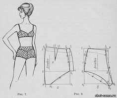 Bathing Suit Of two Parts - Lingerie And Swimwear - All About Sewing. The Waist And Hip Sizes In Centimeters Must Be Halved.nice pattern for bottoms Underwear Pattern, Lingerie Patterns, Sewing Lingerie, Clothing Patterns, Sewing Patterns, Women's Clothing, Swimsuit Pattern, Bra Pattern, Sewing Clothes