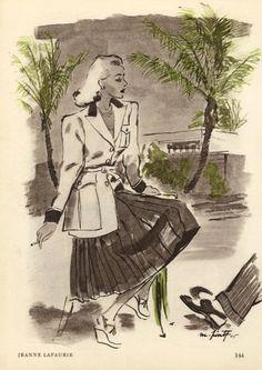 Jeanne Lafaurie 1945 Pinta Jeanne Lafaurie, 1940s Fashion, Vintage Fashion, Mode Vintage Illustration, Rene Gruau, Art Challenge, Fashion Sketches, Bird, The Originals
