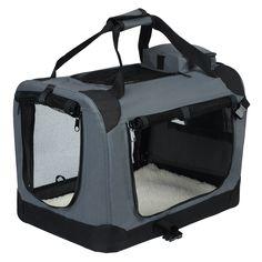 WOLTU HT2025gr Hundebox Hundetransportbox Auto Transportbox Reisebox Katzenbox mit Hundedecke faltbar 49,5x34,5x35cm, Grau… | Woltu