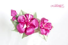 Morning Glory Kanzashi Fabric Flower Hair by wonderfulkanzashi, $15.00