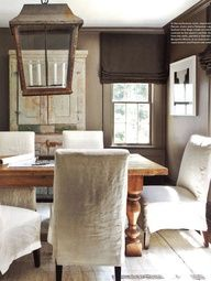 Luscious dining rooms - mylusciouslife.com - weathered wood + washed linen   Westbrook Interiors